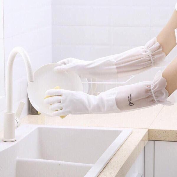 Găng tay rửa chén bát lót nỉ siêu dai - Cổ cao - Có chun chống tụt. Găng tay rửa bát silicon, bao tay rửa bát, găng tay silicon-Găng Tay Rửa Chén Gia Dụng Nhà Bếp, Bát Rửa Dày Cao Su Chống Thấm Nước Gia Dụng Bền Cho Nam Và Nữ