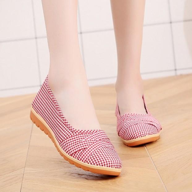 Giày búp bê nữ vải caro đế bằng 2cm đi bộ cực êm chân V189 giá rẻ