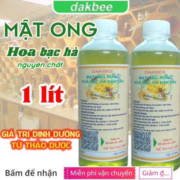 1 lít (2 chai) Mật ong rừng hoa bạc hà nguyên chất Daklak tăng cường sức khỏe, sức đề kháng, CAM KẾT CHẤT LƯỢNG, GIÁ ƯU ĐÃI KHÔNG QUA TRUNG GIAN - DAKBEE