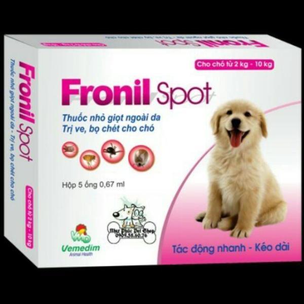 Combo 2 hộp Dung dịch nhỏ sống lưng trị ve ghẻ, bọ chét chó mèo - Fronil spot hộp 5 ống