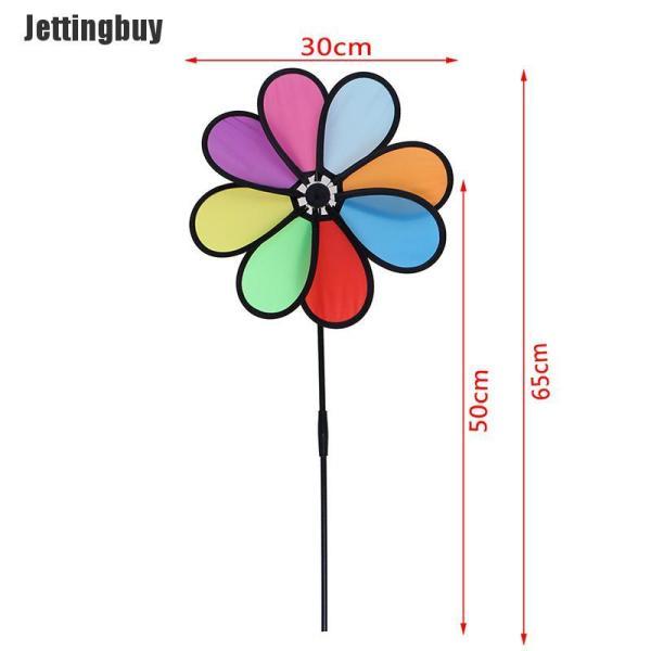Jettingbuy Chong chóng cầu vồng hình hoa bằng vải polyester và sợi thủy tinh que kích thước 30*65cm thích hợp trang trí sân vườn/ngoài trời - INTL