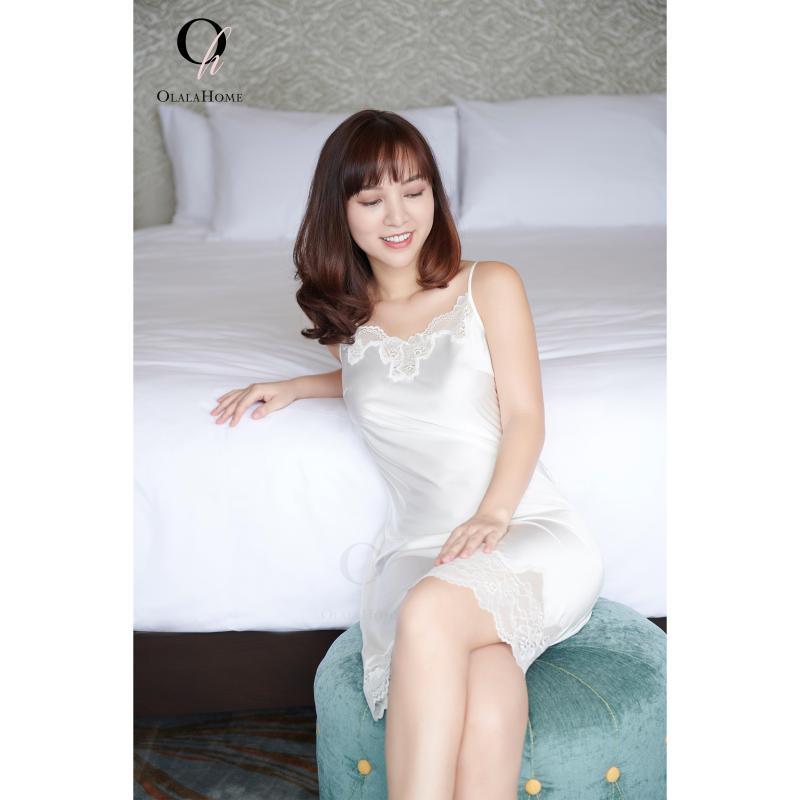 Nơi bán Đầm ngủ màu trắng - SILKY OLALA Home
