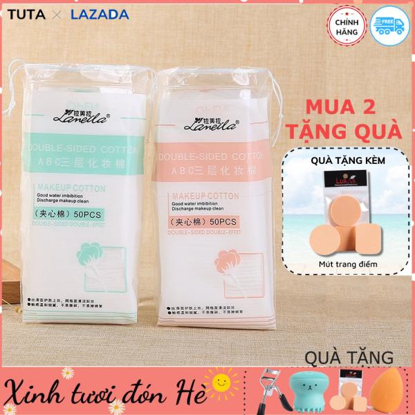 Bông tẩy trang Cotton mềm mịn an toàn cho da LAMEILA túi 50 Miếng 100% loại dày 3 lớp mềm mịn thấm hút cực tốt có đầu dây rút bảo quản GM-BTT1 giá rẻ