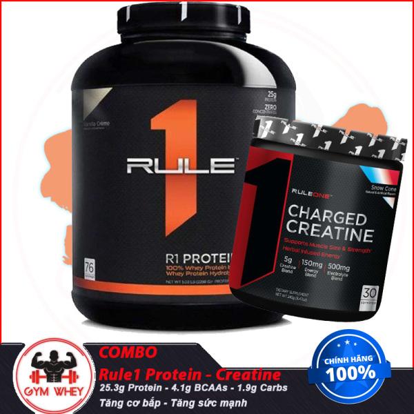[COMBO] TĂNG CƠ BẮP TĂNG SỨC MẠNH HỒI PHỤC CƠ BẮP Rule1 Protein 5lbs Và Creatine Charged (30 lần dùng) - Authentic 100% giá rẻ