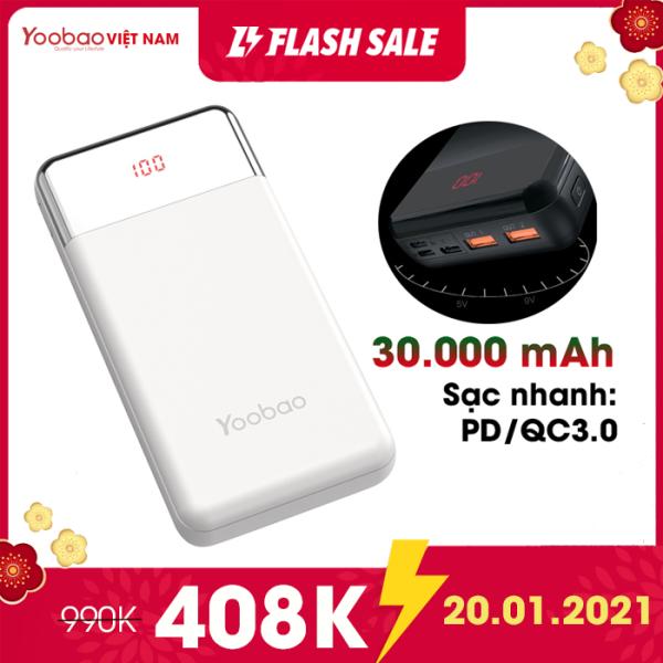Pin sạc dự phòng Yoobao 30W-PD 30000mAh PD3.0 (PPS) 3 cổng sạc vào Type C / Micro USB / Lightning Sạc nhanh cho điện thoại và Laptop PD QC3.0 hiển thị phần trăm pin- Hàng chính hãng