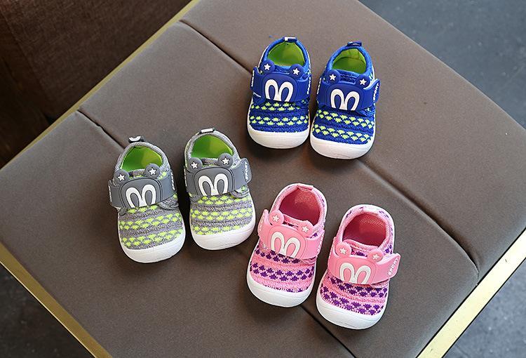 Giày tập đi bé gái bé trai đế kèn chuột micky MS626 Nhật Bản