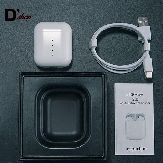 [HOT SALE] Bộ tai nghe không dây i100 tự động Bluetooth 5.0 màu trắng CAO CẤP