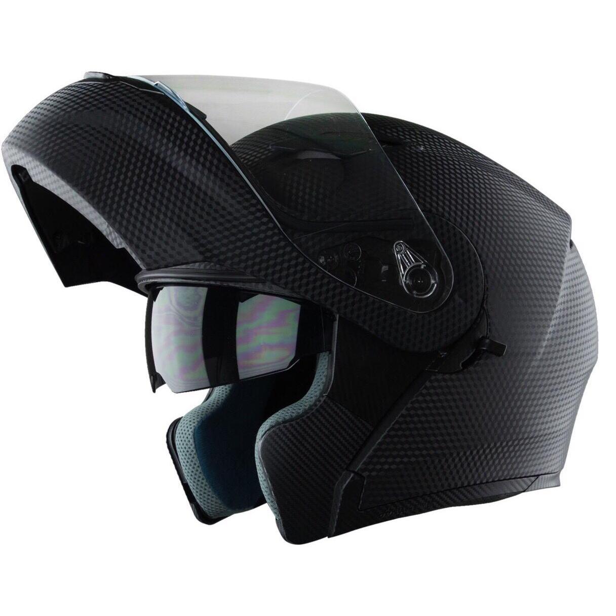 Nón bảo hiểm Fullface lật hàm 2 kính Royal M179 đen vân Carbon