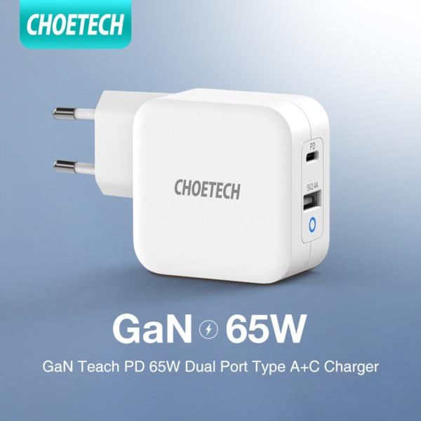 Giá [Hot deal]Bộ sạc USB C CHOETECH 65W Power Delivery 3.0 Bộ sạc nhanh [GaN Tech] loại C cổng kép cho MacBook Pro / Air Dell XPS iPad Pro iPhone 11/11 Pro / 11 Pro Max Galaxy Pixel