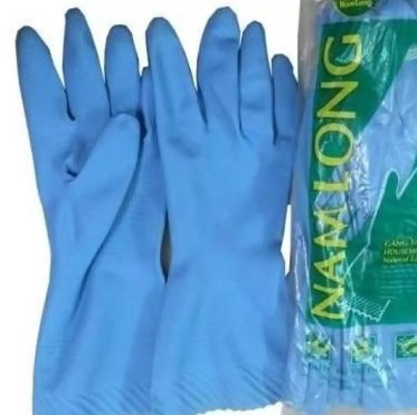 5 đôi Găng tay cao su Nam Long, bao tay cao su rửa chén, giặt đồ, lau nhà.... (dài đến giữa cẳng tay) màu xanh