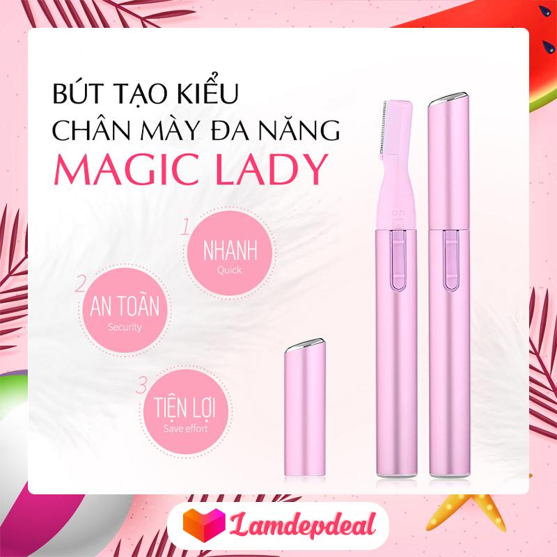 ♥ Lamdepdeal - Bút tạo kiểu chân mày MAGIC LADY - Bút tỉa chân mày đẹp, tạo kiểu chân mày gọn gàng sắc sảo, tặng kèm pin và chổi vệ sinh - Dụng cụ trang điểm nhập khẩu
