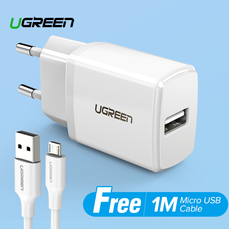 UGREEN USB Charger for Xiaomi Redmi Samsung with Free 1 Meter Micro USB Fast Charging Data Kabel Cable for Samsung j7, Xiaomi Redmi 5A Black