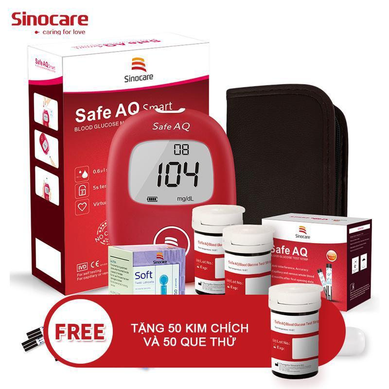 Bộ máy đo đường huyết Sinocare Safe AQ tặng 50 que thử 50 kim lấy máu