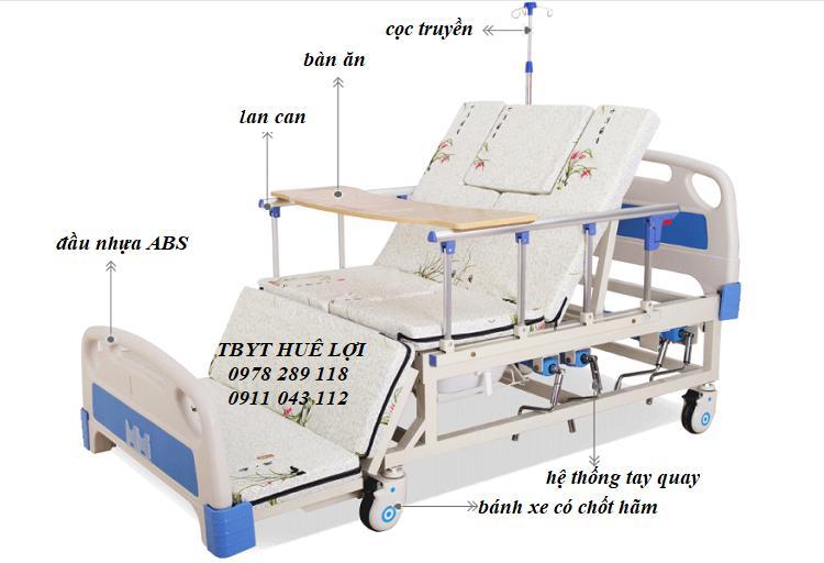 Giường bệnh nhân đa năng - Giường y tế đa năng 4 tay quay HL3