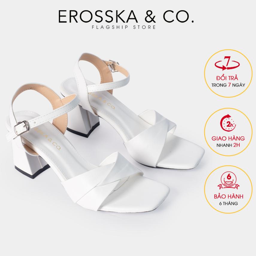 Giày sandal cao gót Erosska thời trang mũi vuông quai ngang bắt chéo cao 7cm EB020 (WH) giá rẻ