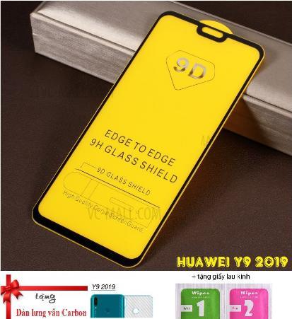 Huawei Y9 2019_Kính Cường Lực 9D Full Keo,Full Màn Tặng Dán Vân Carbon
