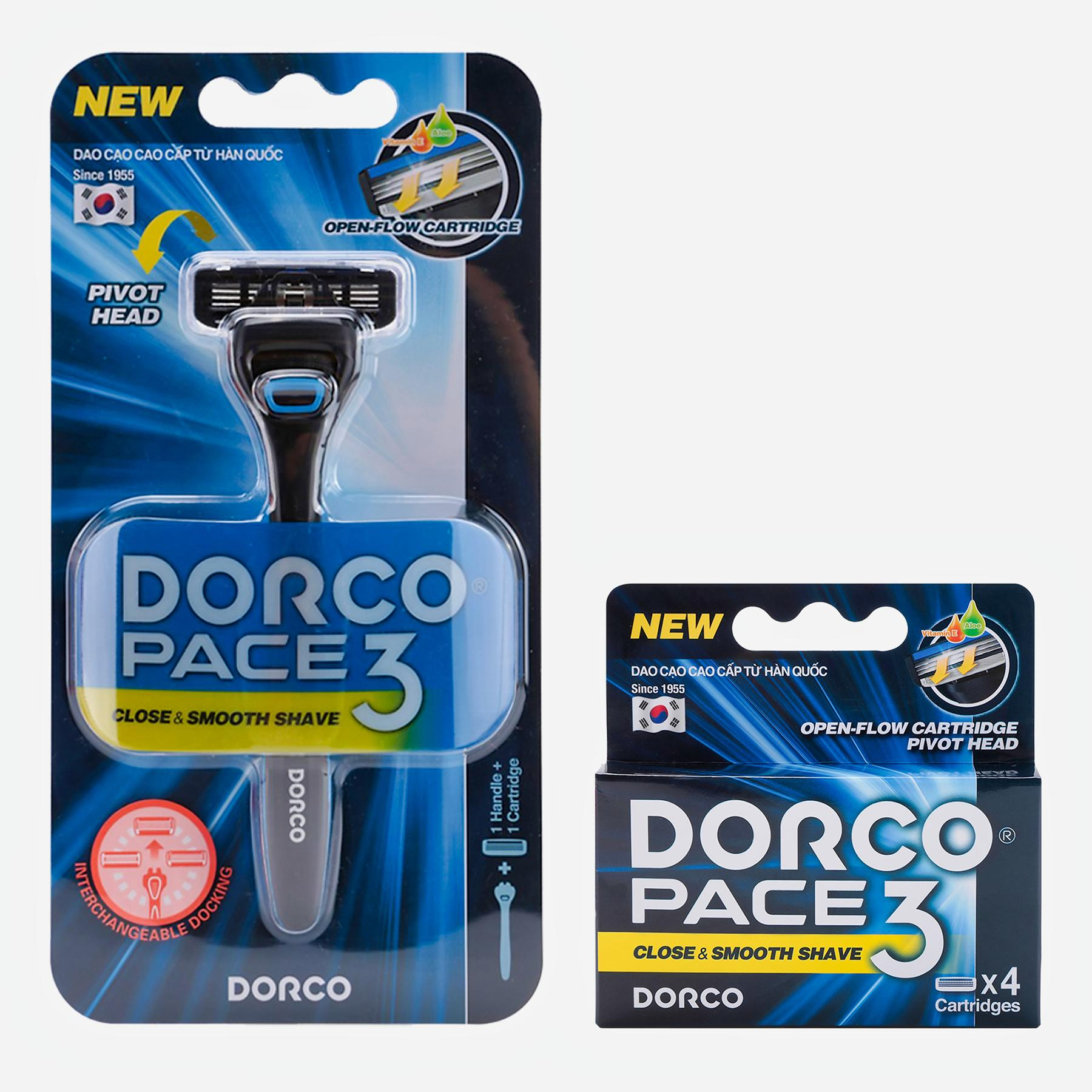 Combo dao cạo và vỉ 3 đầu dao Cạo Râu 3 Lưỡi Dorco Pace 3 TRA 4001-B