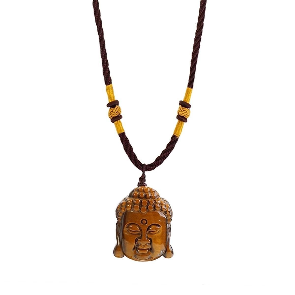 Mặt Dây Chuyền Phật Thích Ca Mâu Ni Đá Mắt Hổ Nâu Vàng Thiên Nhiên - Phù Hộ Độ Trì - Tai Qua Nạn Khỏi  - Tặng Kèm Dây Đeo