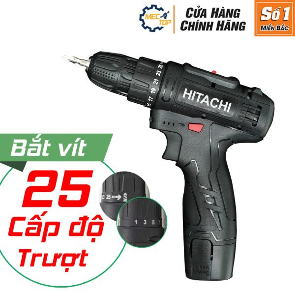 Máy khoan pin cầm tay HITACHI 12v 2 nấc tốc độ 25 chế độ trượt có đèn - khoan sắt - khoan gỗ - bắn tôn - vặn ốc vít