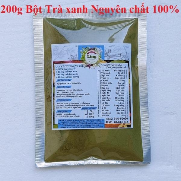 Bột trà xanh 200g có giấy VSATTP và ĐKKD nguyên chất thiên nhiên 100% dùng để đắp mặt đa công dụng