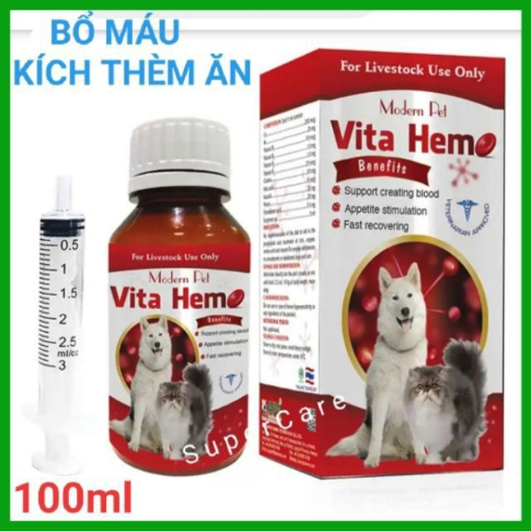 Vita Hemo - Tạo Máu  Kích Thích Thèm Ăn Phục Hồi Sức Khoẻ Nhanh Cho Thú Cưng