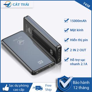 [HCM][FREE SHIP] Pin sạc dự phòng Y43B chính hãng Cát Thái dung lượng 15000mAh mặt kính hiện đại có hiển thị lượng pin 2 Cổng USB 2 cổng Input Type-C và Micro nhỏ gọn mỏng nhẹ - Bảo hành 12 tháng thumbnail