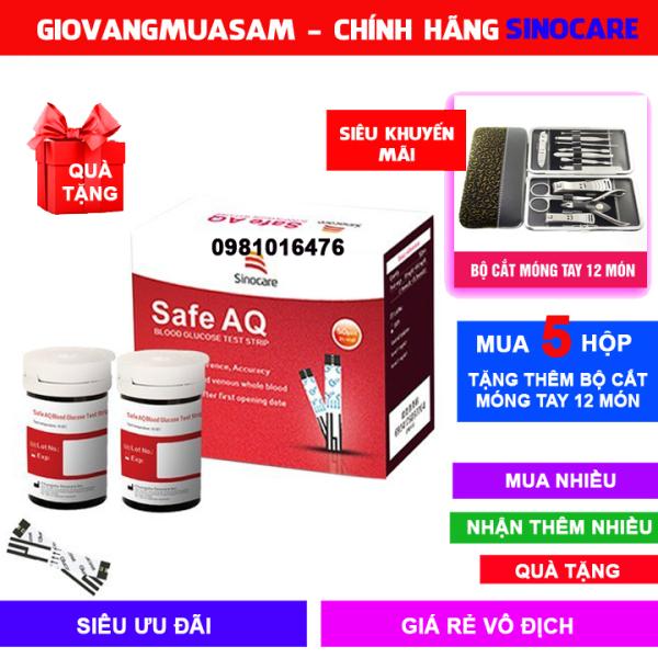 Hộp 50 que thử đường huyết Sinocare Safe AQ  Date dài + Tặng 50 kim chích máu + Mua 5 HỘP TẶNG THÊM BỘ CẮT MÓNG TAY 12 MÓN bán chạy