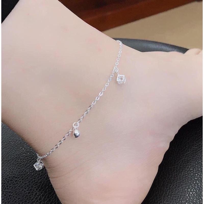 Lắc chân nữ bạc thật treo mix chuông, đá vuông trẻ trung , Trang sức bạc QMJ cam kết chất lượng, bảo hành trọn đời sản phẩm