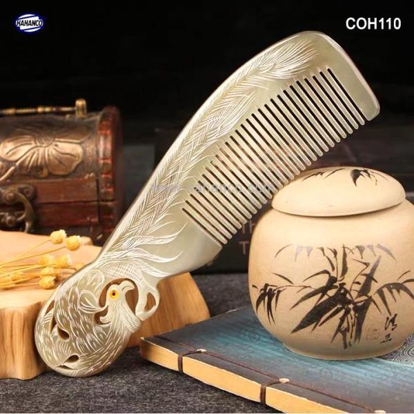 Lược sừng Phượng cuốn đẹp làm quà tặng VIP -Size: XL - 19cm- Chăm sóc tóc - Horn Comb of HAHANCO - COH110