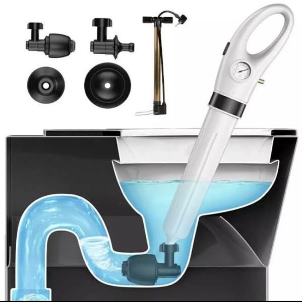 [XÃ KHO GIÁ RẺ] Dụng cụ thông tắc bồn cầu nhà vệ sinh, bồn rửa chén chuyên nghiệp - thông tắc cầu cống bằng khí nén hiệu quả với khớp quay 360 độ + Tặng kèm bơm hơi