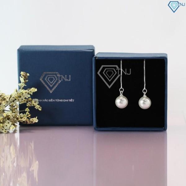 Bông tai bạc ngọc trai, hoa tai bạc ngọc trai nhân tạo BTN0076 - Trang Sức TNJ