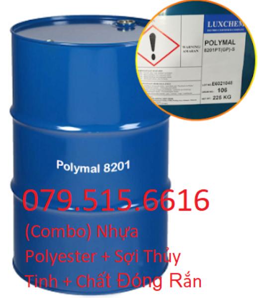 Nhựa Composite Polyester 8201 (1kg) + Sợi Thủy Tinh (1kg) + KM Chất Đóng Rắn
