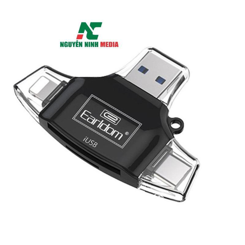 Đầu đọc thẻ 4 trong 1 Lightning, Type-C, Android, USB cho thẻ MicroSD và SD Earldom ET-OT31