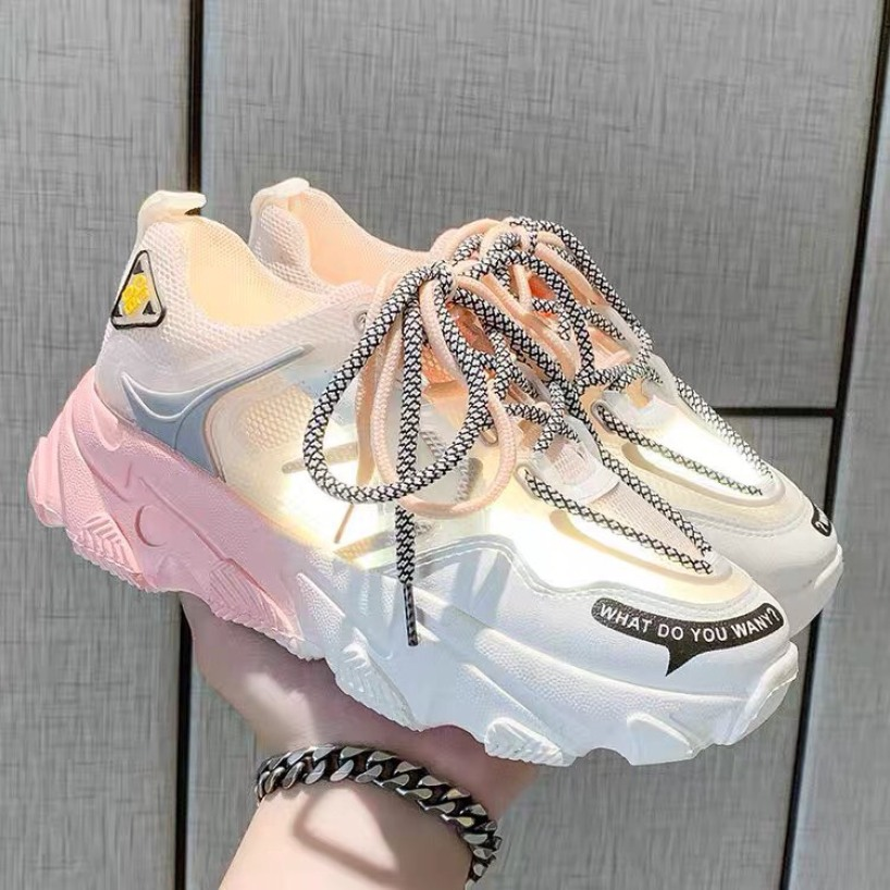 [ kèm clip thật ]giày sneaker nữ, giày thể thao nữ phối màu có 2 dây phản quang cực đẹp, giày nữ đế độn 5cm mẫu mới 2020 giá rẻ