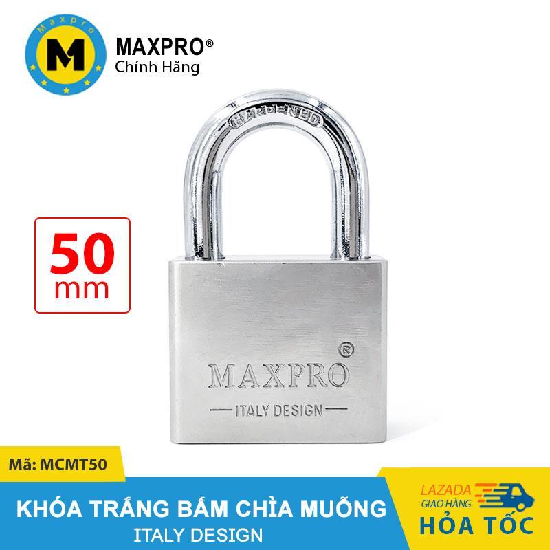 Ổ Khóa Trắng Bấm MAXPRO Càng Thường Chìa Muỗng 50mm - MCMT50