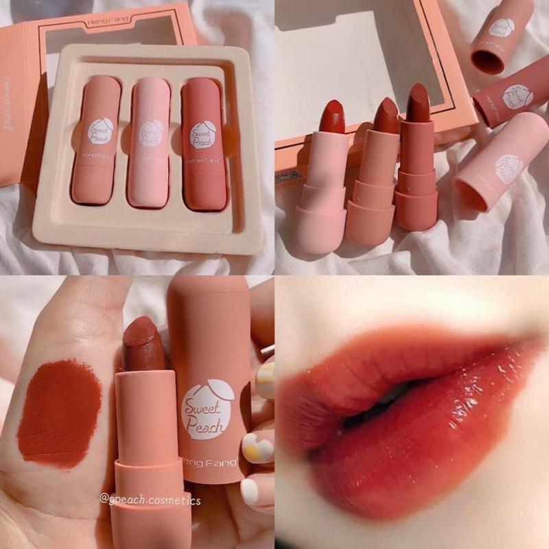 Set 3 son sáp Hengfang sweet peach lipstick