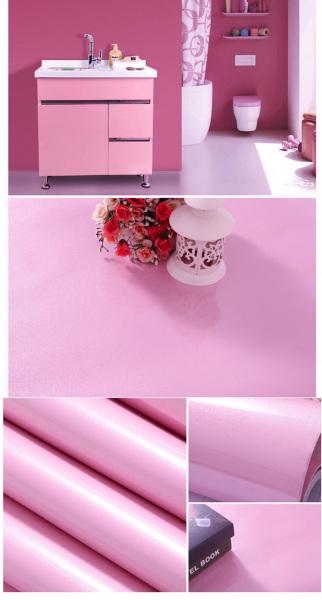 Giấy dán tường decal - màu hồng trơn - có sẵn keo mặt sau - khổ 1,2m