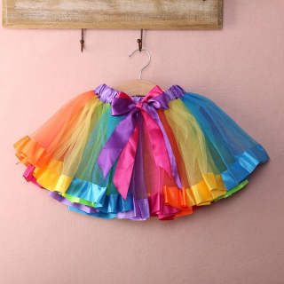 M & B Váy Ngắn Co Giãn Mini Mềm Dẻo Cầu Vồng Cho Bé Gái Tại Nhà Váy Dạ Hội Vải Tuyn Váy Xòe Váy Khiêu Vũ Cho Trẻ Sơ Sinh 0-8 Tuổi
