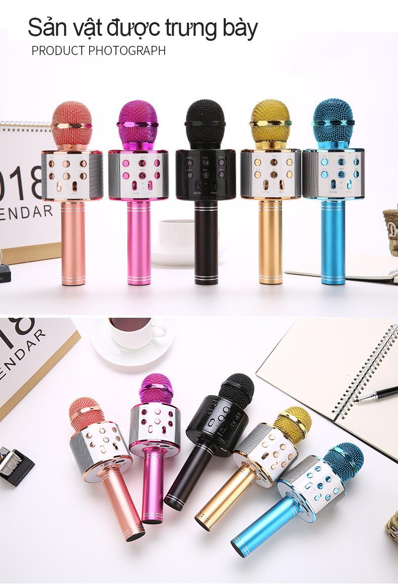 Mic Hát Karaoke Bluetooth Không Dây Kèm loa Âm vang Ấm mic hát karaoke cầm tay mini micro hát trên xe hơi mic hát karaoke hay nhất hiện nay