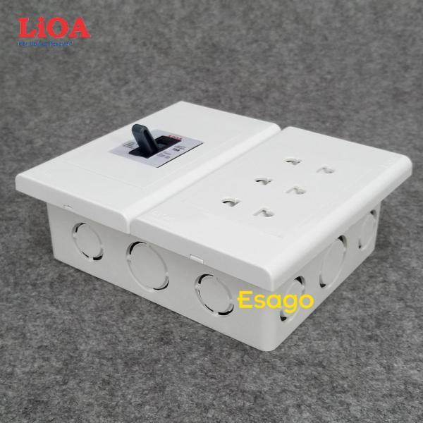Combo ổ cắm điện ba 2 chấu 16A LiOA (3520W) có cầu dao chống quá tải 15A - Âm tường