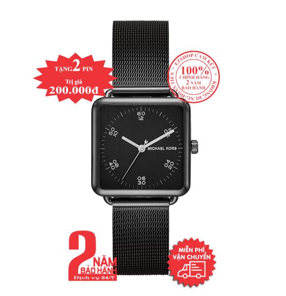 Đồng hồ nữ MK MK3562, vỏ, mặt và dây đồng hồ màu đen (Black), mặt vuông, size 31mm - Brenner series