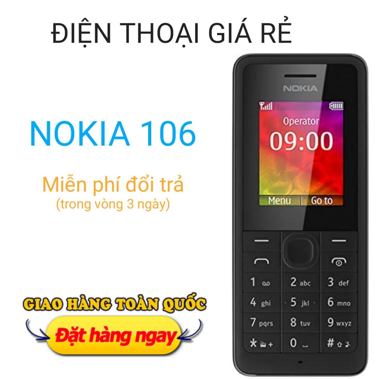 Điện thoại Nokia 106 giá rẻ cho 1 SIM, kèm Pin + sạc, hàng công ty chất lượng nghe gọi to rõ, màu đen