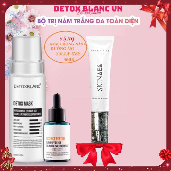 Combo trị nám tàn nhang dưỡng trắng da detox blanc tặng kèm kem dưỡng ẩm chống nắng skin aec