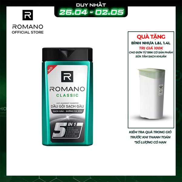 Dầu gội sạch gàu Romano Classic loại bỏ & ngăn gàu trở lại 380gr cao cấp