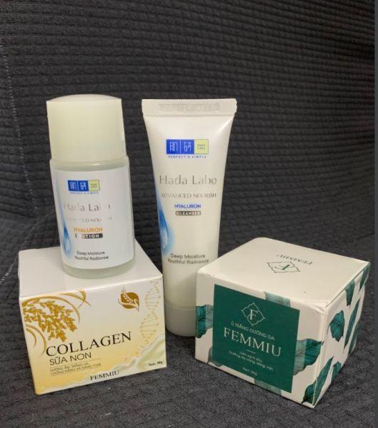 Combo Dưỡng Trắng Da Tại Nhà ( Kem Collagen + Kem Thải Độc Hút Chì + ( Sửa Rửa Mặt và Toner Dưỡng Âm ) cao cấp