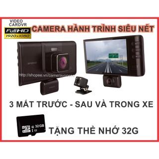 Camera hành trình siêu nét X003S - 3 mắt Trước - Sau và trong xe, tặng thẻ 32G thumbnail