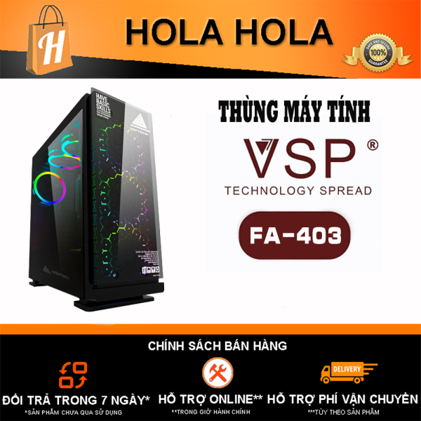 Bảng giá Thùng Máy Tính Case VSP Gaming FA-403 Kính Cường Lực (Chưa Bao Gồm Fan) (KHT) Phong Vũ
