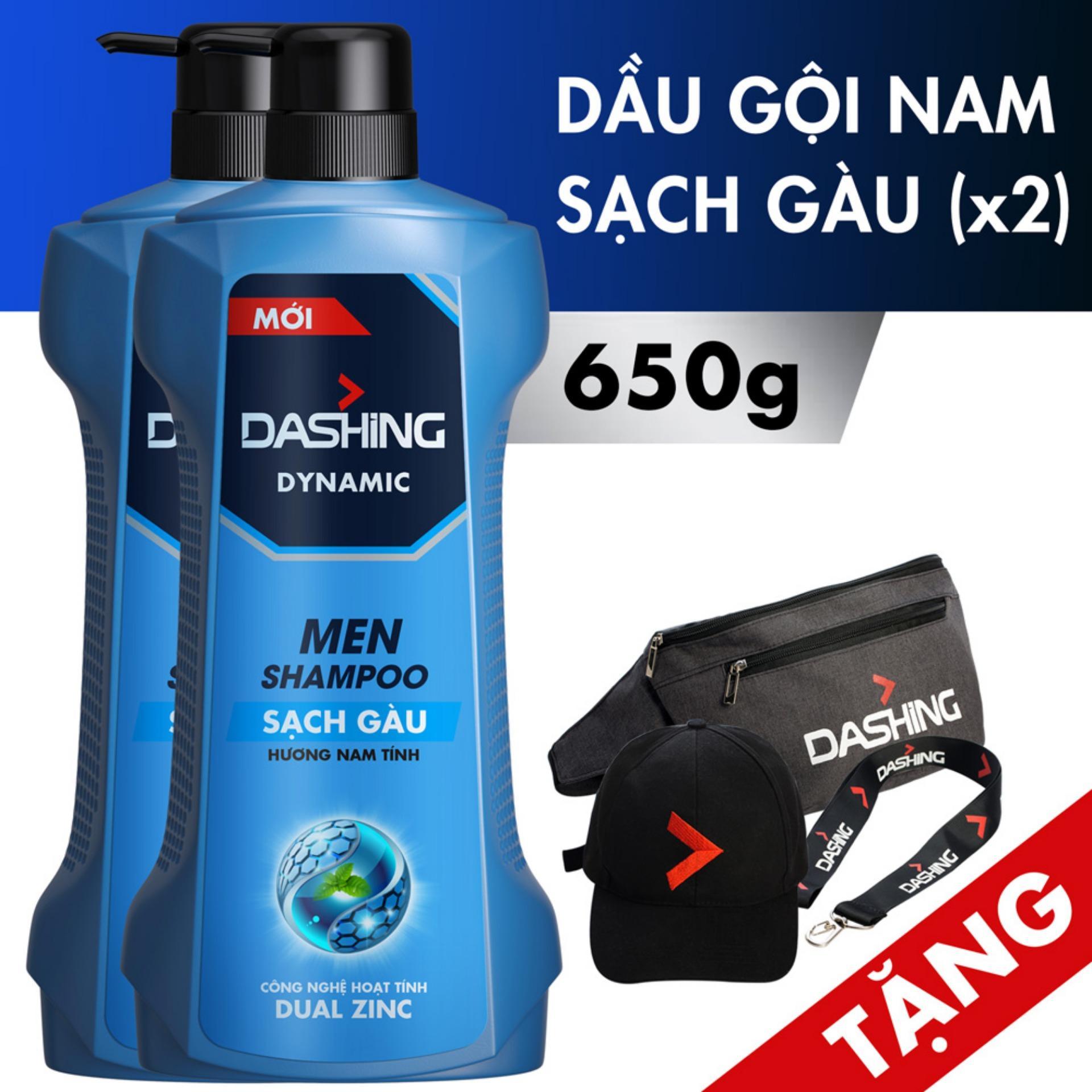 [Tặng Nón, Túi Đeo Chéo, Dây Đeo Điện Thoại] Combo 2 chai Dầu gội sạch gàu cho nam giới Dashing Dynamic Men Shampoo 650g