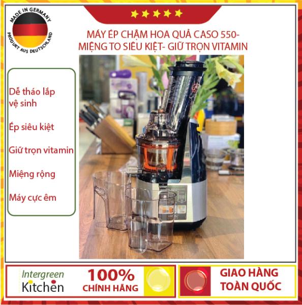 (Quà tặng + mã giảm 100k) Máy ép trái cây, máy ép hoa quả caso SJW 550, hàng Đức, đời mới nhất 2020, với 3 bộ lọc, ép nước, ép thô, ép hoa quả  dạng máy ép chậm, máy ép hoa quả chậm