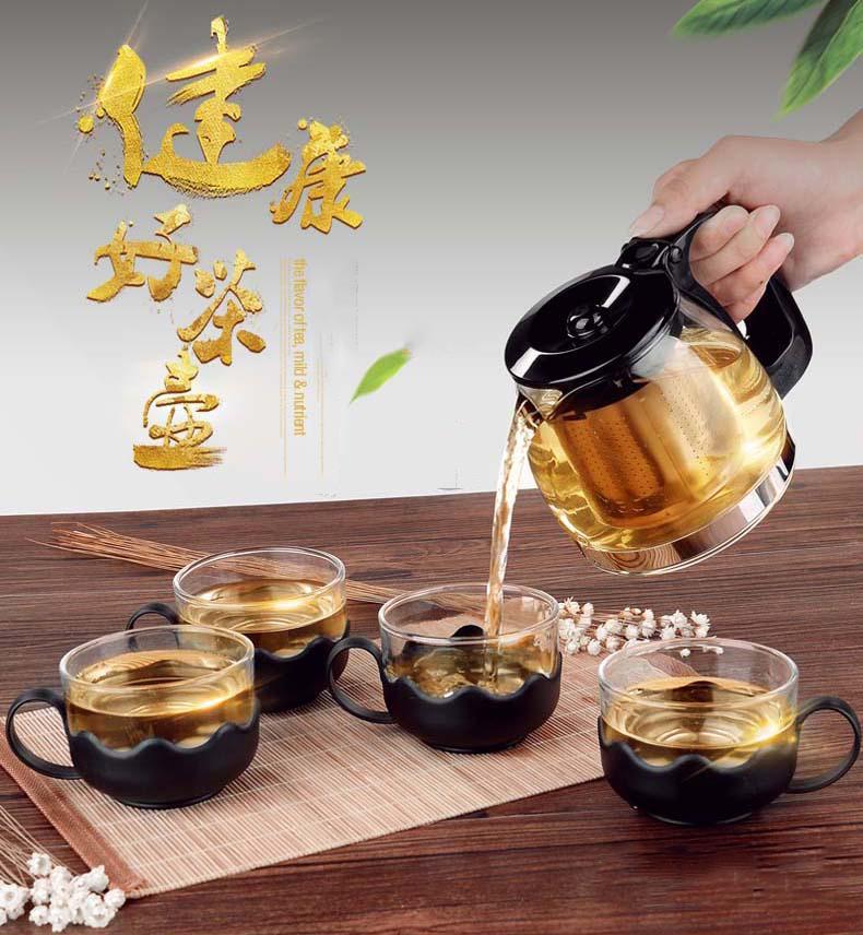 Bộ Bình Lọc Trà Thủy Tinh Kèm 4 Ly Lưới Lọc Inox 304 T.H Liac Tiện Dụng - Bình Pha Trà, Cafe Glass TeaPot Cao Cấp 700ml Tặng Kèm Ly Sang Trọng Giá Cực Ngầu